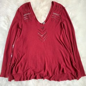 Maroon Free People Thermal Top with Cutout Details